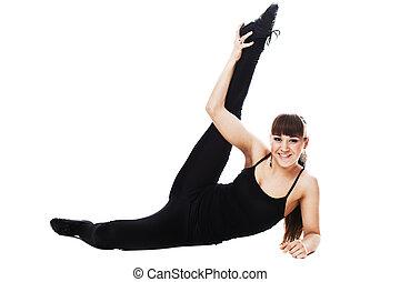 corps femme allonger isol entiers fond fitness blanc. Black Bedroom Furniture Sets. Home Design Ideas