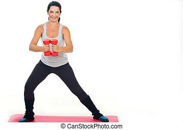 fitness, femme heureuse, cloche sourde-muette