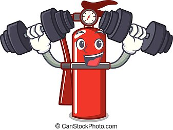 Fitness fire extinguisher character cartoon
