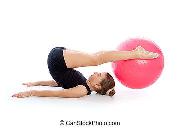 fitness, fitball, schweizer kugel, kind, m�dchen, übung,...