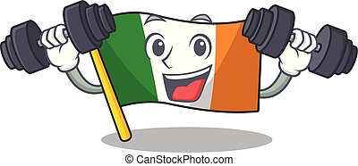Fitness flag ireland isolated with the cartoon vector ...