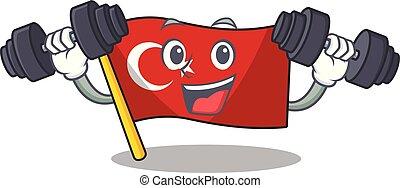 Fitness flag turkey character on shaped cartoon