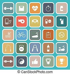 Fitness flat icons on green background