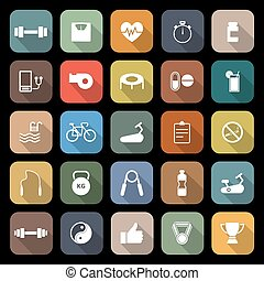Fitness flat icons with long shadow