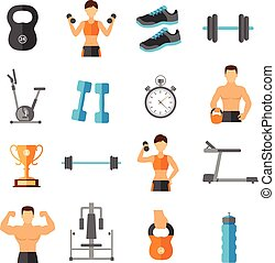 Fitness Flat Style Icons Set