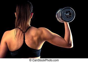fitness, flicka, -, attraktiv, ung kvinna, arbete ut, med, hantlar