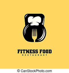 Fitness food restaurant logo design concept with kettle bell...
