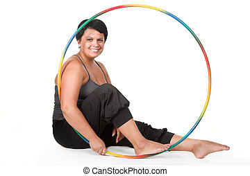 fitness for fat woman - fat woman with hula hoops