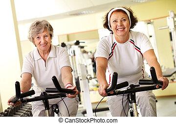 Fitness for seniors - Portrait of two senior women on...