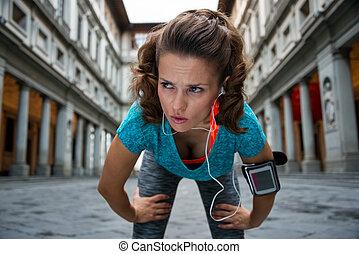 fitness, frau, fangen, atmen, bei, uffizi galerie, in,...