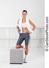fitness, frau, in, turnhalle