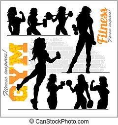 fitness, frau mädchen, silhouetten