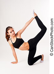 fitness, frau, machen, übung