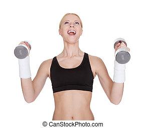 fitness, frau, machen, gewichtstraining