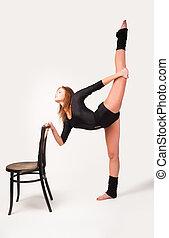 fitness, frau, machen, gleichgewicht, übung
