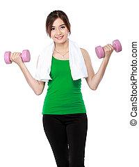 fitness, frau, mit, freie gewichte