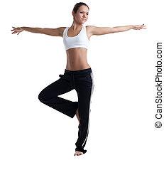 fitness, frau, posierend, junger, kostüm
