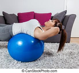 fitness, frau, trainieren