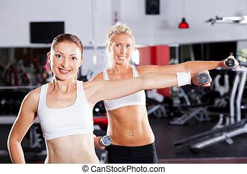 fitness, frau, trainieren, mit, hanteln