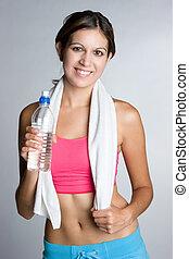 fitness, frau, wasser
