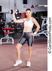fitness, frauausarbeiten, mit, hantel