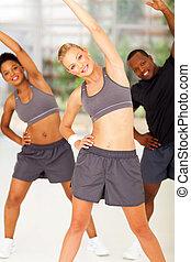 fitness, frauausarbeiten, mit, zwei freunde