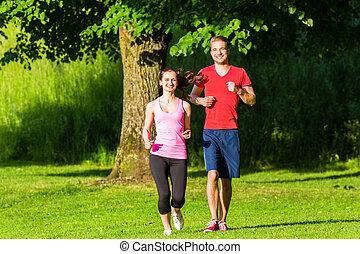 fitness, friends, rennender , zusammen, durch, park