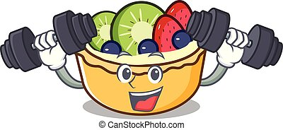 Fitness fruit tart character cartoon