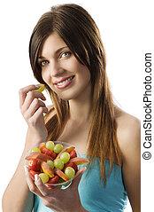 fitness, frukt, flicka
