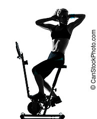 fitness, genomkörare, kvinna, cykla, ställing