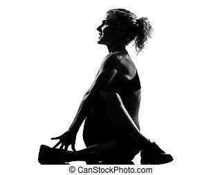 fitness, genomkörare, kvinna, ställing