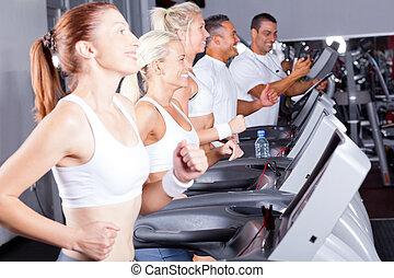 fitness, gens, exercisme, tapis roulant