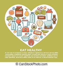 fitness, gezond voedsel, hart, poster, van, sportende, dieet voedsel, voeding, en, dieetsupplement, icons.