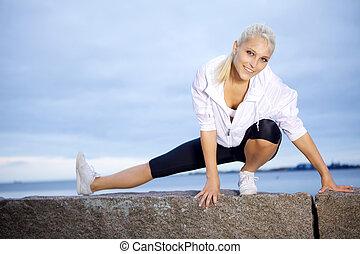 fitness, girl, étirage