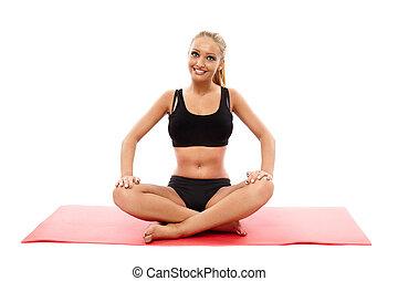 Fitness girl doing aerobics