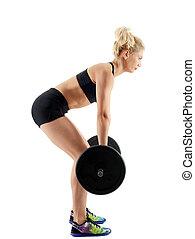 Fitness girl doing deadlift on white