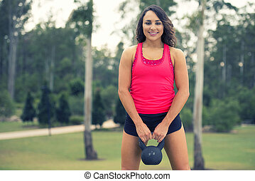 Fitness Girl - Fitness girl working out in the park.