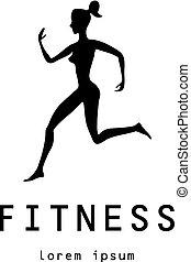 Fitness girl label - vector illustration