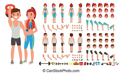 Fitness Girl, Man Vector. Animated Sport Male, Female Character Creation Set. Full Length, Front, Side, Back View, Accessories, Poses, Face Emotions, Gestures. Isolated Flat Cartoon Illustration