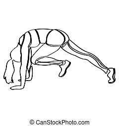 Fitness girl outline - Isolated outline of a girl doing...