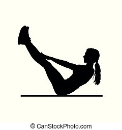 fitness - girl silhouette pose one