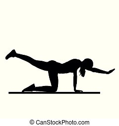 fitness - girl silhouette pose two