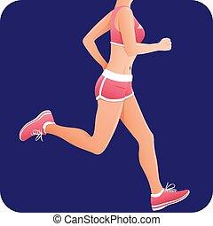 Fitness girl, sportswoman, female runner running icon -...