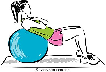 fitness girl with ball vector illustration