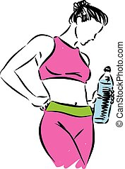 fitness girl with bottle of water vector illustration
