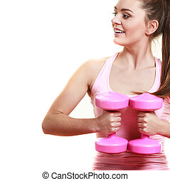 Fitness girl with dumbbells doing exercise