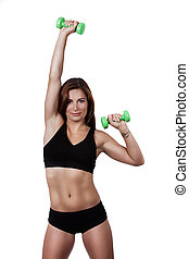 Fitness girl with dumbbells on a white background