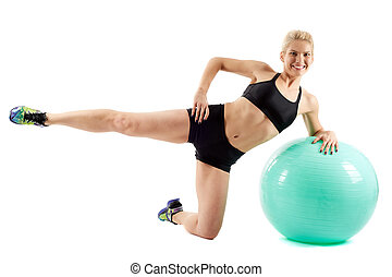 Fitness girl workout with gym ball