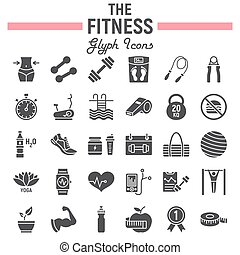 Fitness glyph icon set, sport symbols collection, vector sketches, logo illustrations, healthy diet signs solid pictograms package isolated on white background, eps 10.