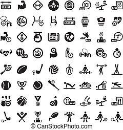 fitness, grand, ensemble, icône